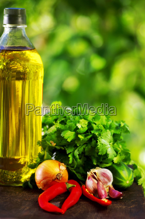 oil chili pepper and ingredients of