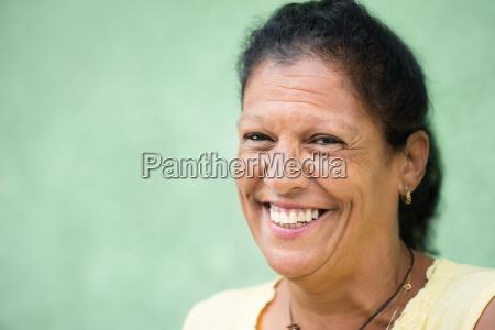 portrait of happy old hispanic woman