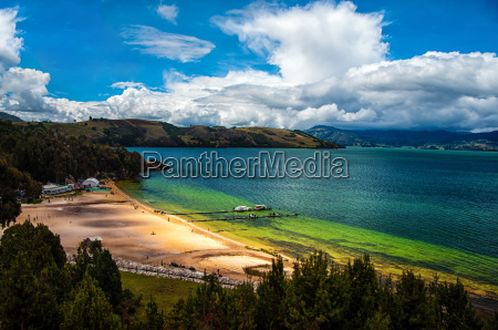 green and blue lake