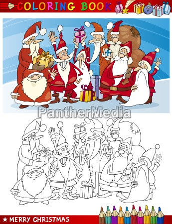 karikatur santa claus group fuer coloring