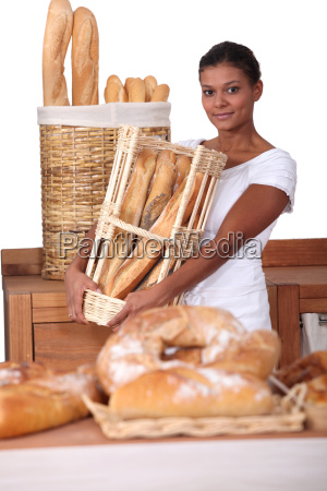 young woman with a basket of