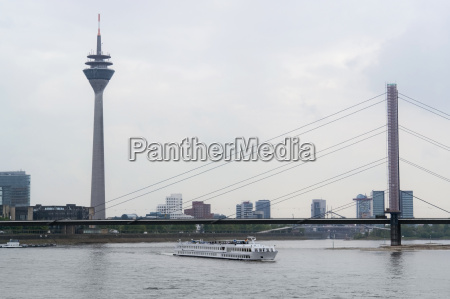 river rhine scenery in duesseldorf
