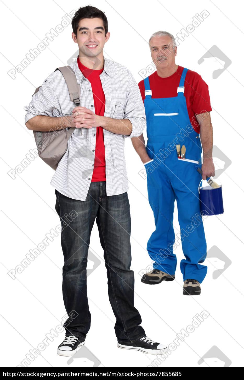 senior, handwerker, und, auszubildende, posieren - 7855685
