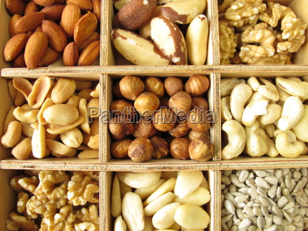 nuts in the wooden box