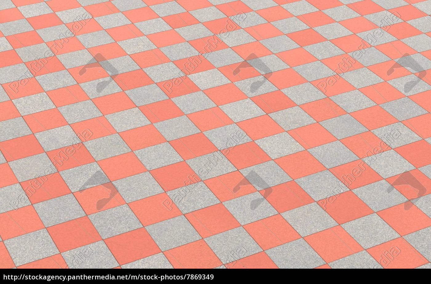 Schachmuster Bodenfliesen Rot Grau Lizenzfreies Bild 7869349