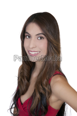 young hispanic woman smiling portrait red