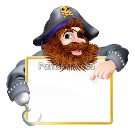 happy pirate pointing at sign