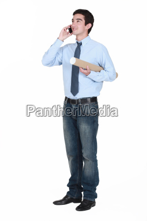 young man with a document tube