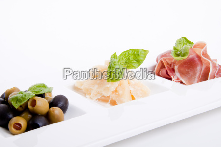 mixed appetizer plate with parma parmesan