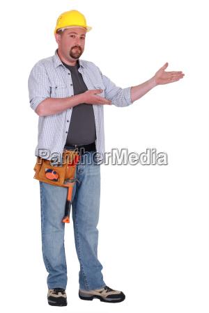 laborer gesturing on white background