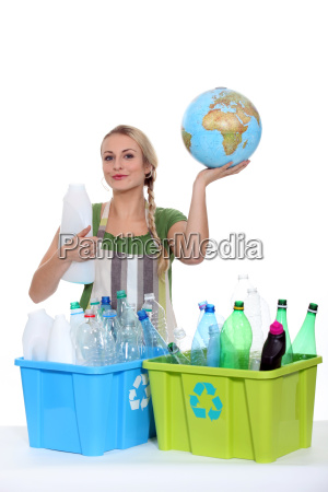 blond woman recycling to save the