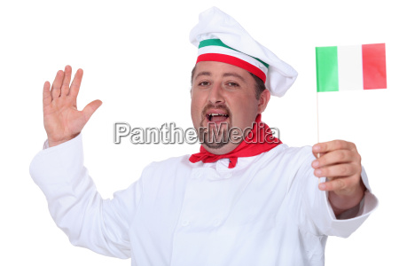 italian chef waving a flag