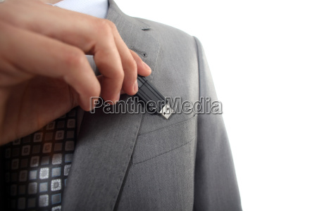 businessman with usb key in hand