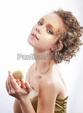 fashion woman beauty gilded golden