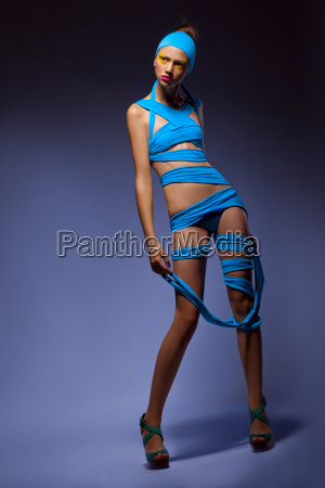 trendy fashion woman in blue creative