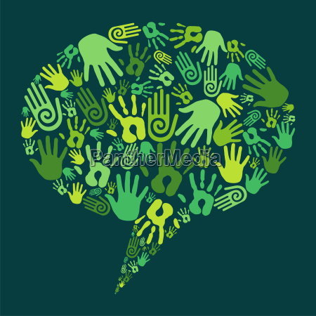 go green hands communication concept