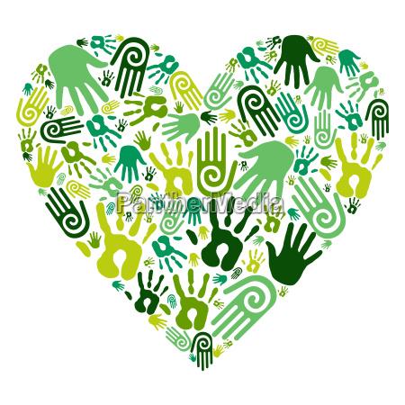 go green hands love heart
