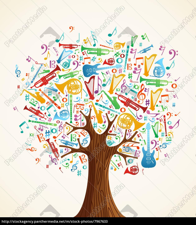 zusammenfassung musikalischen baum mit instrumente