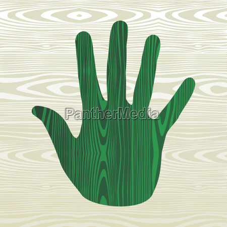 green hand in wood