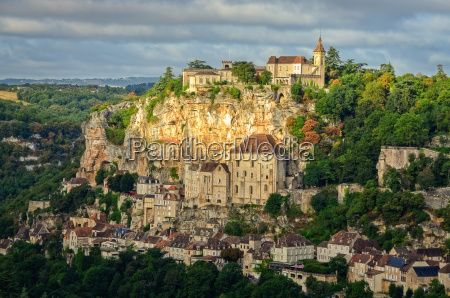 rocamadour village wide landscape view france