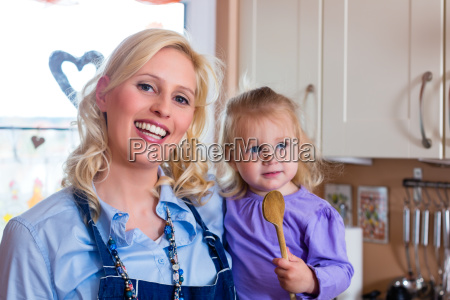 family mother and child baking