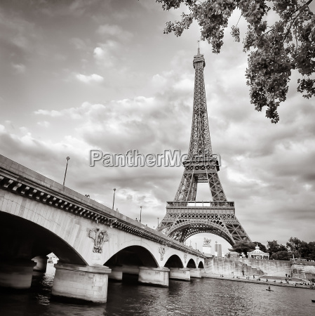 eiffel tower monochrome view with river