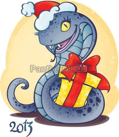 entzueckende kleine schlange mit weihnachtsgeschenk