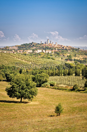 san gimignano village and fields view