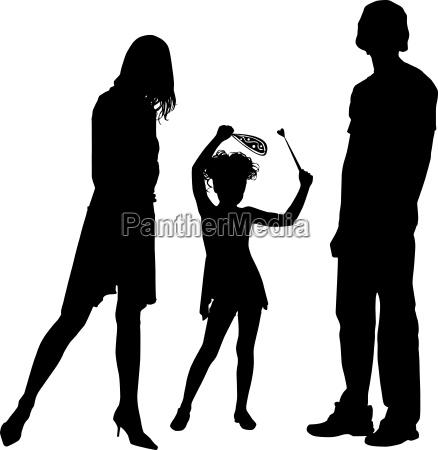 schattenbilder der gluecklichen familie