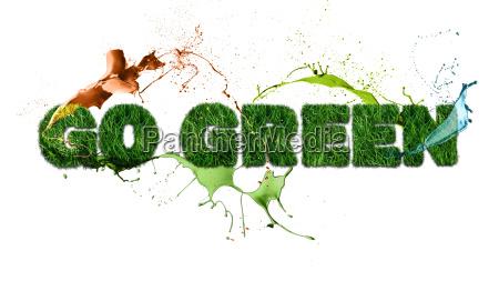 go green sign and splash