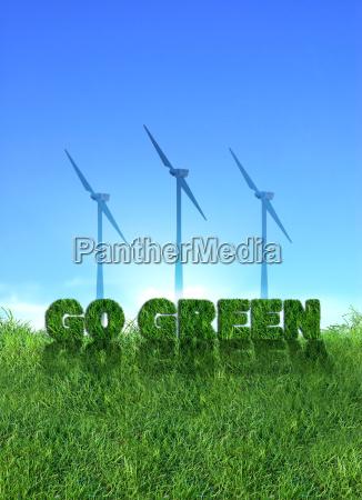 go green wind energy sign