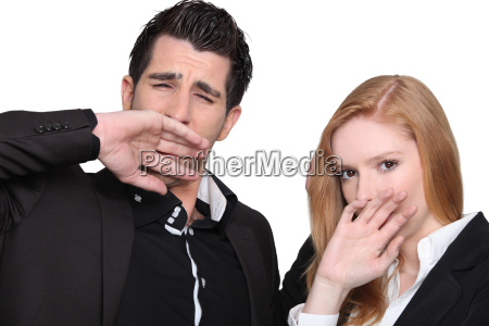 young couple yawning