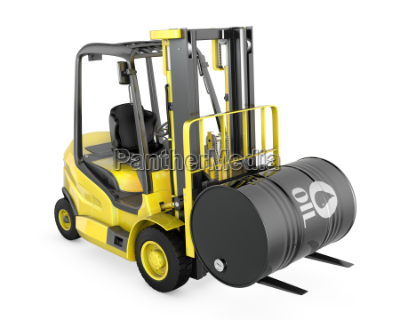 yellow fork lift lifts oil barrel