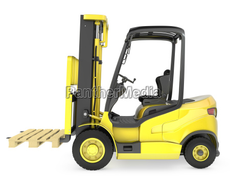 yellow fork lift truck with a