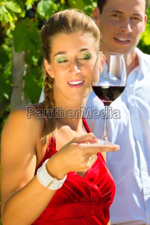 woman and man encounter with wine