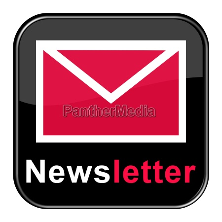button mit rotem briefsymbol newsletter abonnieren