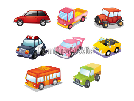 cars isolated on white