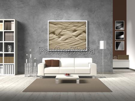 modernes wohnzimmer mit weissem sofa