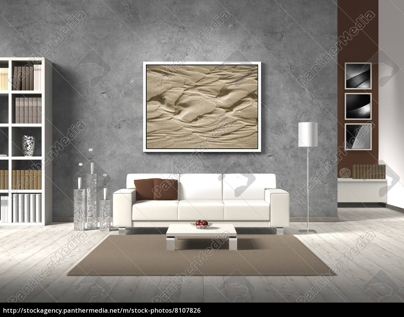 Modernes Wohnzimmer Mit Weissem Sofa Stock Photo 8107826