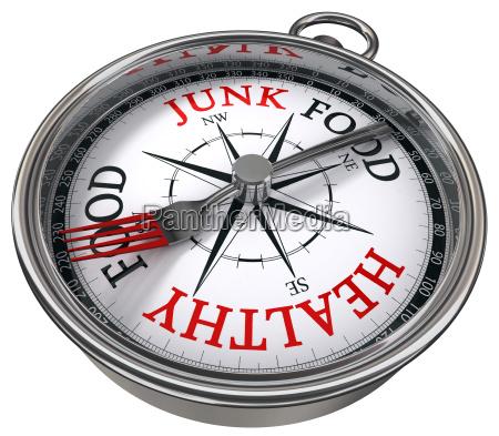 gesund gegen junk food konzept kompass