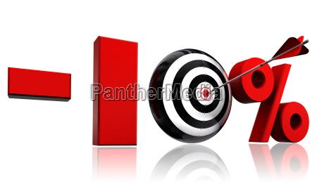 zehn prozent rabatt roten symbol