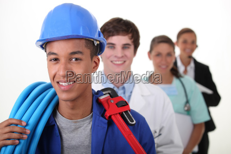four workers with different professions