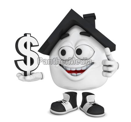 small 3d house black dollar