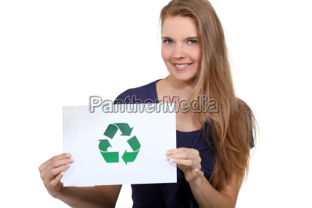 a woman promoting recycling