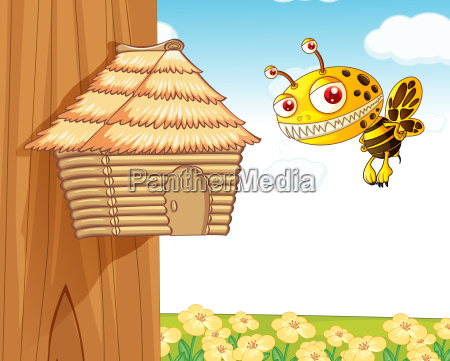 honey bee and wooden house