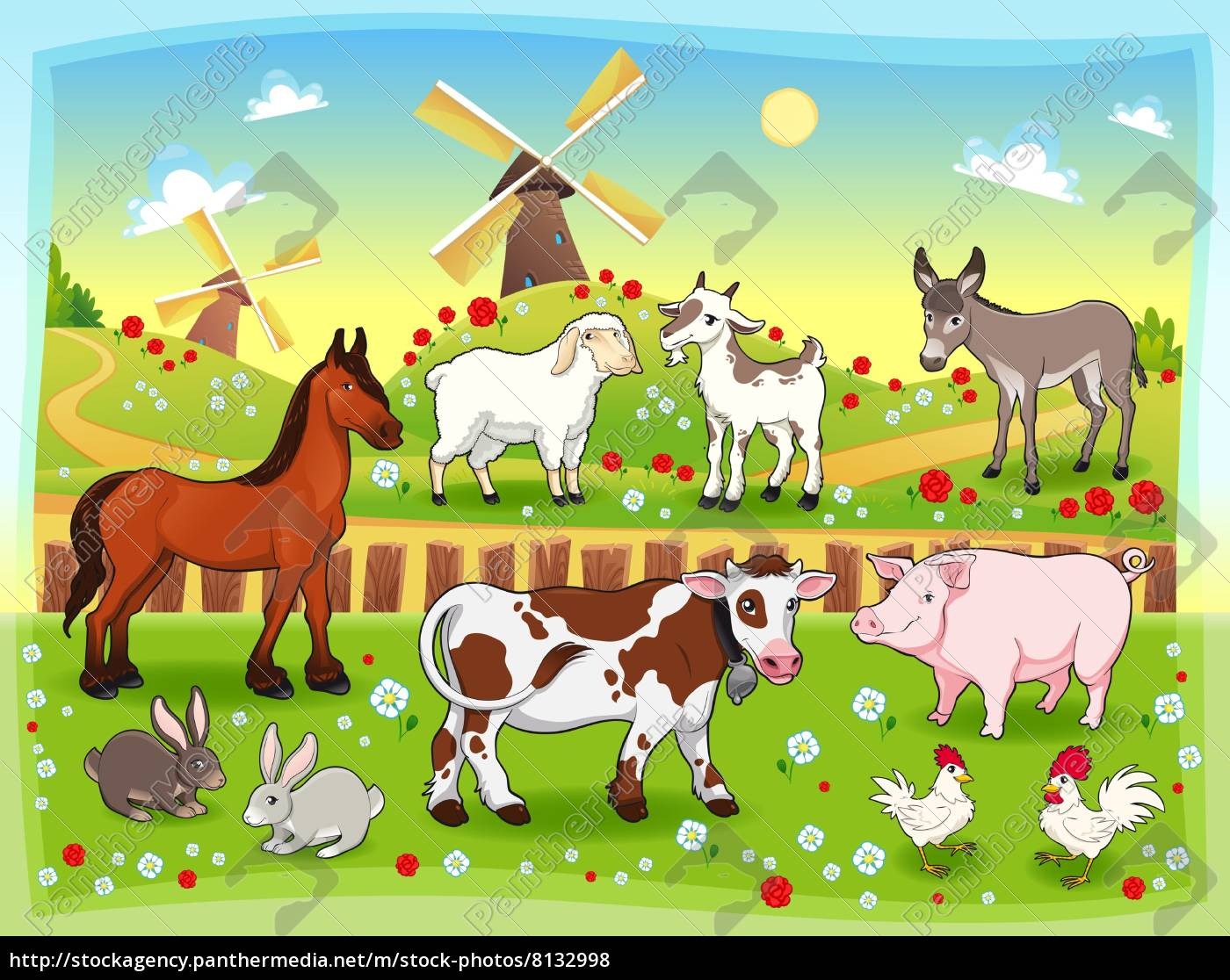 Disegno Casa Bauernhof Tiere Mit Hintergrund Stock Photo 8132998