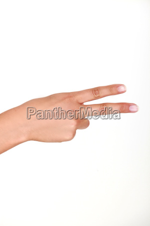 human hand holding up two fingers