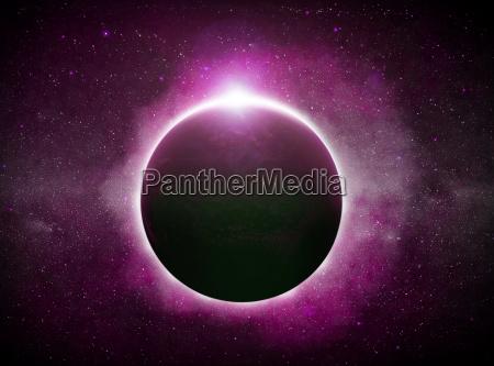 eclipse ueber den planeten erde