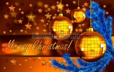 weihnachtshintergrund mit baellen und tannenzweig