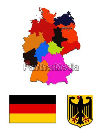 die landkarte und die staatlichen symbole